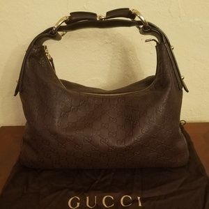 Gucci Horsebit Leather Guccissima Medium Hobo